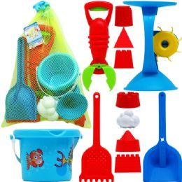 9 Bulk Assrt Beach Toys In Pegable Net Bag W/ Tag