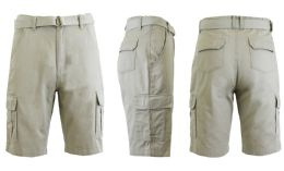 24 Bulk Men's Cargo Shorts With Belt Sand