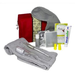 18 Bulk Small Red Bag Personal Essential Travel Kit 11 Piece Kit