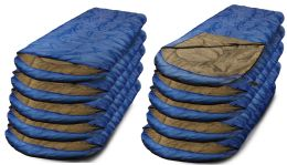 10 Bulk Camping Lightweight Sleeping Bag 3 Season Warm & Cool Weather Royal Blue