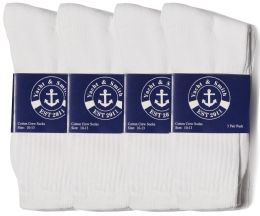 24 Bulk Yacht & Smith Mens Cotton White Crew Socks, Sock Size 10-13