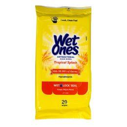 80 Bulk Wet Ones Tropical Splash Antibacterial Wipes Pack Of 20