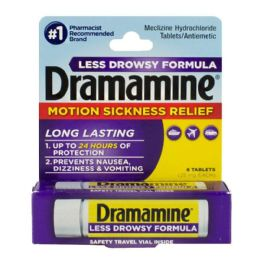 18 Bulk Travel Size Dramamine Motion Sickness Relief Less Drowsy Tablets Vial Of 8