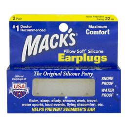 48 Bulk Earplugs - Mack's Pillow Soft Silicone Earplugs 2 Pairs