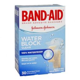 24 Bulk Band Aids - Johnson Johnson Assorted Water Block Band Aids Box Of 30