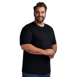 12 Bulk Mens Plus Size Big And Tall Cotton Crew Neck Short Sleeve T-Shirts Solid Black Size 5XL