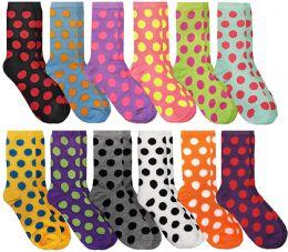 12 Bulk Women's Casual Crew Socks, Cotton Colorful Fun Patterns, Polka Dot Crew Socks Size 9-11