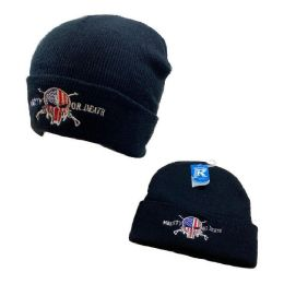 48 Bulk Embroidered Knitted Cuff Hat [Mberty or Death]*TYPO*