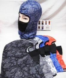 48 Bulk Full Face Mask Paisley Bandanna Assorted Colors