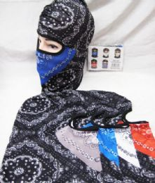 48 Bulk Full Face Mask Two Tone Paisley Bandanna Assorted Colors