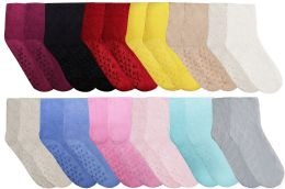 12 Bulk Yacht & Smith Women's Solid Color Gripper Fuzzy Socks Assorted Colors, Size 9-11