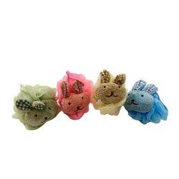 72 Bulk Bath Sponge With Stuffed Animal