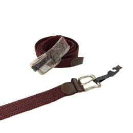24 Bulk Braided Stretch Belt *brown (all Sizes)
