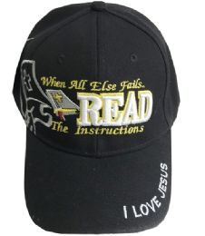60 Bulk When All Else Fail Read The Instruction Embroidered Cotton Baseball Cap