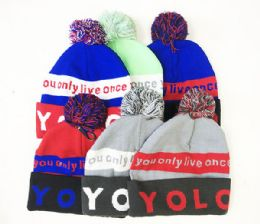 72 Bulk Fashion Beanie Hat Yolo In Assorted Colors
