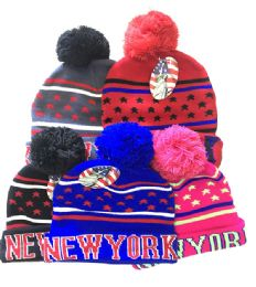 72 Bulk New York Winter Fresh Design Pom Cuffed Beanie Skull Cap In Assorted Color
