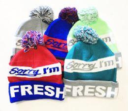 72 Bulk Im Fresh Winter Fresh Design Pom Cuffed Beanie Skull Cap In Assorted Color