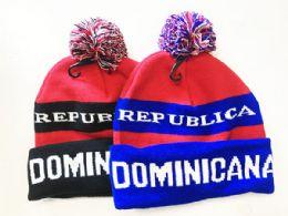 72 Bulk Dominicana Winter Fresh Design Pom Cuffed Beanie Skull Cap In Assorted Color