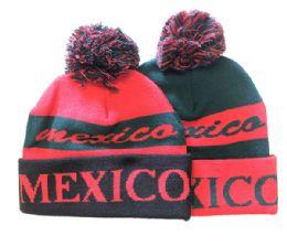 72 Bulk Mexico Winter Fresh Design Pom Cuffed Beanie Skull Cap In Assorted Color