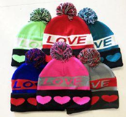 72 Bulk Love Winter Fresh Design Pom Cuffed Beanie Skull Cap In Assorted Color