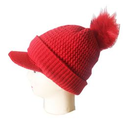 72 Bulk Winter Beanie With Visor And Pom Pom Hat