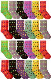 60 Bulk Yacht & Smith Neon Star Print Cotton Crew Socks For Woman, Size 9-11