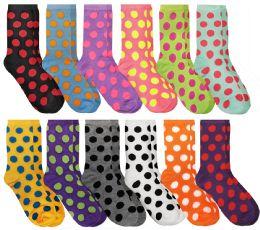 60 Bulk Yacht & Smith Neon Polka Dot Print Cotton Crew Socks For Woman, Size 9-11