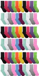 60 Bulk Yacht & Smith Assorted Neon Cotton Crew Socks For Woman, Size 9-11