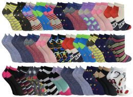 60 Bulk 60 Pairs Womens Colorful Thin Lightweight Low Cut Ankle Socks, Patterned Assorted Size 9-11