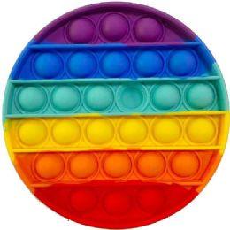 24 Bulk Push Pop Fidget Toy [rainbow Circle]
