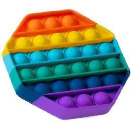 """24 Bulk Push Pop Fidget Toy [rainbow Octagon] 5""""x5"""""""