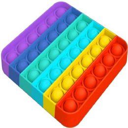 "24 Bulk Push Pop Fidget Toy [rainbow Square] 5""x5"""