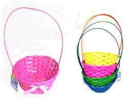 72 Bulk Easter Basket Woven W/ Ribbon