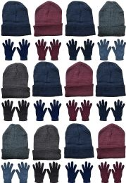 24 Bulk Yacht & Smith Mens Warm Winter Hats And Glove Set Assorted Colors 24 Pieces