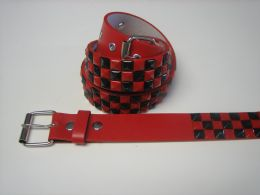 96 Bulk Black And Red Checkerboard Studded Belt
