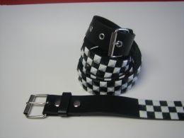96 Bulk Black And White Checkerboard Studded Belt