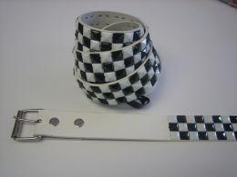 96 Bulk White And Black Checkerboard Studded Belt