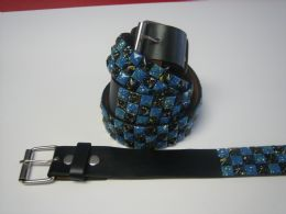 96 Bulk Blue And Black Checkerboard Studded Belt