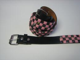 96 Bulk Pink And Black Checkerboard Studded Belt