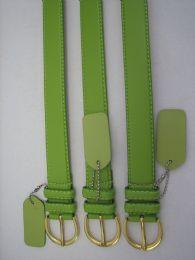 96 Bulk Skinny Green Belt Thin Waist Jeans Belt For Pants In Pin Buckle Belt