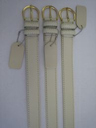96 Bulk Skinny White Belt Thin Waist Jeans Belt For Pants In Pin Buckle Belt