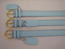 96 Bulk Skinny Sky Blue Belt Thin Waist Jeans Belt For Pants In Pin Buckle Belt