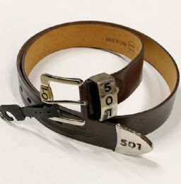 48 Bulk Men 501 Leather Belts Brown In Assorted Size
