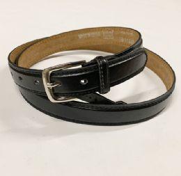 48 Bulk Mens Plain Black Belts Assorted Sizes