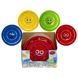 24 Bulk Flying Disc With Smiley Face 11.5in 4ast Colors