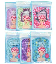 72 Bulk Fully Lined Woven Shower Cap Spa Savvy