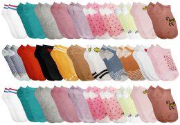 30 Bulk Yacht & Smith Girls Colorful Fun Printed Thin Lightweight Low Cut Ankle Socks