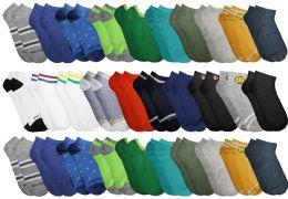 30 Bulk Yacht & Smith Boys Colorful Fun Printed Thin Lightweight Low Cut Ankle Socks
