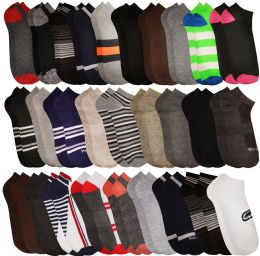 30 Bulk Yacht & Smith Mens Colorful Fun Printed Thin Lightweight Low Cut Ankle Socks