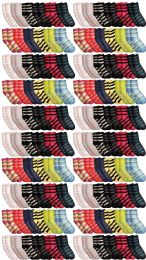 120 Bulk Yacht & Smith Womens Soft Fuzzy Gripper Crew Socks, Assorted Striped Size 9-11